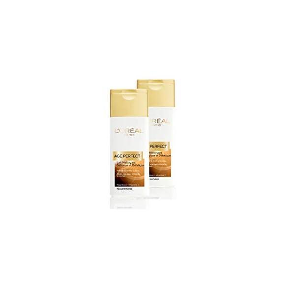 L'Oréal Paris Age Perfect – Leche Limpiadora antiarrugas y relajante–Pieles maduras–Juego de 2