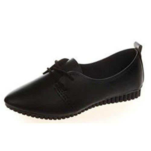 Slip On Erbsenschuhe Damen, DoraMe Frauen Bequeme Massage Arbeitsschuhe Frühling Neue Casual Flache Schuhe Mode Loafers Elegant Slipper (39, Schwarz)