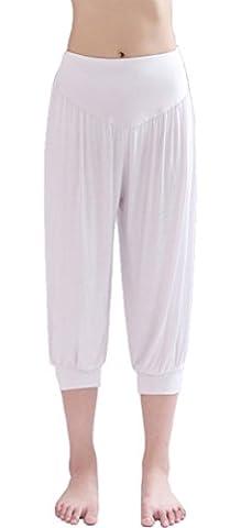 HOEREV Super Soft Modal Spandex Harem Yoga Pilates Pantalons Capri des femmes