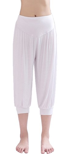 HOEREV® Super Soft Modal Spandex Harem Yoga Pilates Pantalons Capri des femmes Blanc