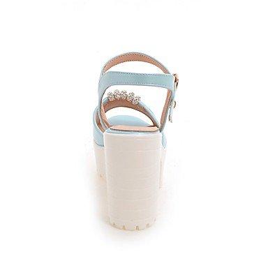 LvYuan Da donna-Sandali-Formale Casual Serata e festa-Altro-Quadrato-Finta pelle-Blu Rosa Bianco White