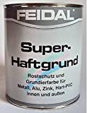 Feidal Super Haftgrund, Farbton silbergrau Ral 7001, seidenmatt / 2,5 l / Rostschutzgrund und Grundierung f. Metall, Aluminium, Zink, Kunststoff, Hart-PVC, innen u. aussen / für Industrie u. Handwerk