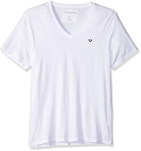 True Religion Herren Vneck Tee with Metal Horseshoe Grommet T-Shirt, weiß, Groß -
