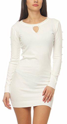 10544 Fashion4Young Damen Feinstrick Pullover Strickkleid Minikleid Strick Kleid Perlen (weiss, S/M=34/36) (Perlen Kleider Weiße)