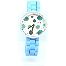 White and Blue Bubble Round Faced Light Blue Strap Watch