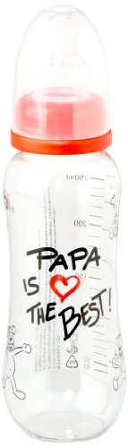 Fashy 95.1461/00 - Papa is the Best Babyflasche mit Silikonsauger 250 ml