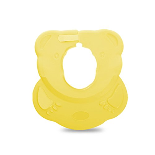 Baby Shower Cap Waterproof Infants And Young Children Shampoo Cap Shower Cap Velcro Adjustable Silicone Baby Shower ( Color : Yellow )