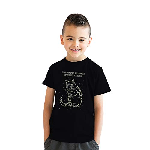 Crazy Dog Tshirts - Youth The Catus Minorus Constellation Glow In The Dark T Shirt Funny Cats Tee (Black) M - Jungen - M -