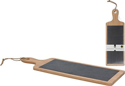 Käsebrett aus Bambus und Schiefer Schneidbrett 45 x 15 cm