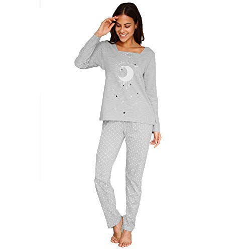 Pijama Camiseta con Escote Efecto Doble y Estampado Frontal Mujer by V - 023350,Gris,3XL