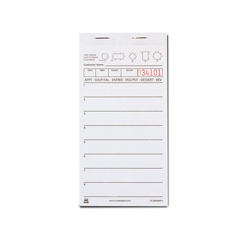 Royal weiße Kellner-Notizblöcke, einteiliges Buch, 8 Linien pro Seite, Lieferumfang: 10 Blöcke,