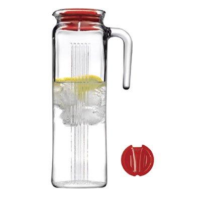 Pasabahce 44 Oz Frigo Karaffe/Krug, Kühlschrank Krug mit farbigem Deckel in Geschenkverpackung, rot