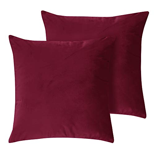 Deconovo Kissenbezug kissenhüllen Samt 50x50 cm Bordeaux 2er Set -