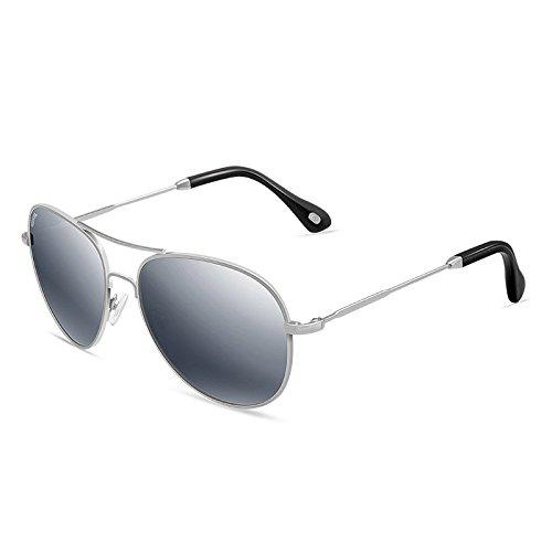 Sonnenbrille Silber Frauen Polarisierte Sonnenbrille Anti-UV Runde Umriss
