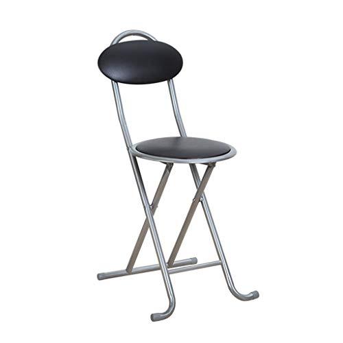 Schwarz gepolsterte Leder klappstuhl, tragbare Silber Metall rückenlehne Stuhl, rutschfeste stabile hochfeste büro haushaltsstuhl -