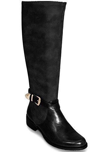 FANTASIA BOUTIQUE GLC494 Jocelyne Contraste Long Femmes Genou Cuir Synthétique Bottes Style Équitation