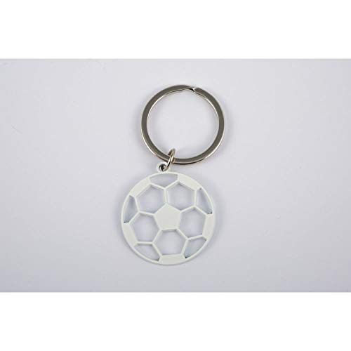 10x portachiavi in metallo bianco pallone da calcio bomboniera comunione