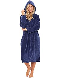 Ladies Hooded Full Zipped Dressing Gown Flannel Fleece Robe Embossed  Pattern Teal Blue Berry Red Grey b4fbae37e