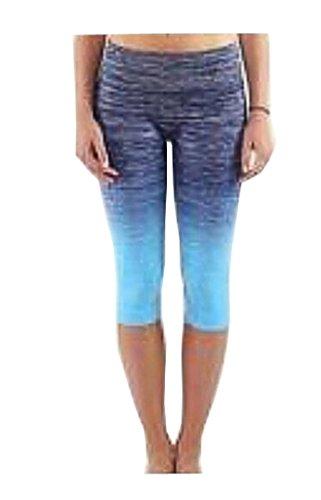 Harem Yoga lisse Leggings Collants de gym entraînement Capri Pantalon court pour femme bleu