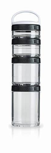 BlenderBottle GoStak Starter 4Pak inklusive Handgriff  - Behälter zum Aufbewahren von Protein, Pulver, Vitaminen und mehr, 1er Pack - schwarz - Optimale Vitamin-packs