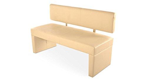 SAM® Esszimmer Sitzbank Sandra, 140 cm, in creme, Sitzbank mit Rückenlehne aus Samolux®-Bezug, angenehmer Sitzkomfort, frei im Raum aufstellbare Bank