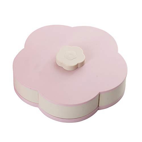 Poseca Blumen-Form drehbarer Deckel Candy Box Kreative Rotary Switch Storage Teller Home Snacks Trennwand Organizer Box Party Hochzeit Candy Tray Pb -