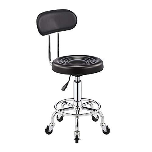 WYUTIAO, Werkbank mit Rückenlehne, Drehstuhl, Bürohocker, höhenverstellbarer 360 ° drehbarer Barstuhl, Arbeitsstuhl, ergonomischer Rundsitz mit Sportsitz-black