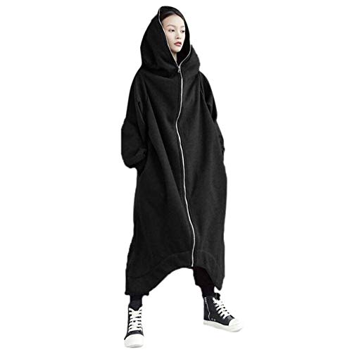 ❤ vovotrade ❤ felpa oversize con cappuccio per le donne inverno solid felpa con maniche lunghe con cappuccio cerniera pullover top windcoat con tasca