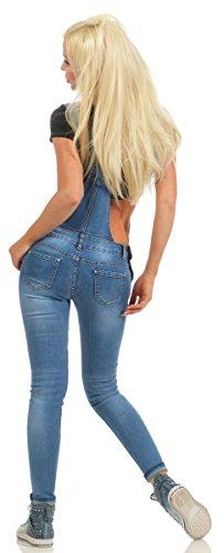 Fashion4Young Damen Jeans Latzhose Latz Jeans Träger Röhrenjeans Knöchellang Stretch Slim-Fit 10993-blau