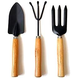LEXPON Garten-Werkzeug-Set aus Edelstahl mit Gabel Trowel und in der Technik mit Hartholz Griffe, 3 Stück