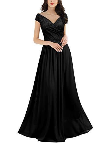 MIUSOL Damen Elegant V-Ausschnitt Ärmellos Spitzenkleid Partykleid Brautjungfer Cocktailkleid Faltenrock Langes Kleid Schwarz 2XL