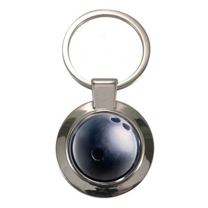Schwarz Bowling Ball Design geschoben Circular Schlüsselanhänger (Bowling Amf Ball)