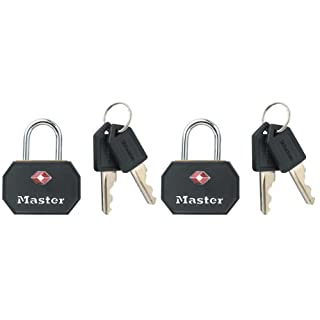 Master Lock Padlock, TSA-Accepted Luggage Lock, Keyed Lock, Best Used for Backpacks, Luggage, Computer Bags and More, Black (Pack of 2)