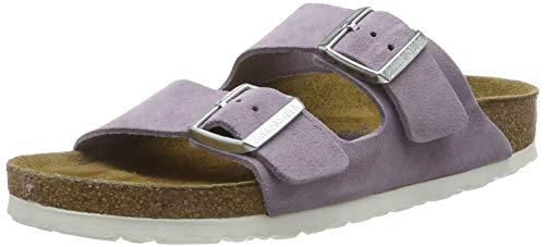 BIRKENSTOCK Classic Damen Arizona Leder Softfootbed Pantoletten, Violett (Lavender), 37 EU