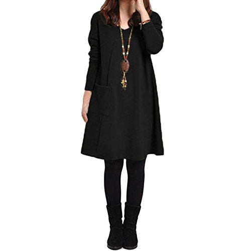 Romacci Autumn Winter Women Dress Plus Size Loose Tunic Long Dress Long Sleeves Pockets Solid V Neck Swing Dress for Ladies
