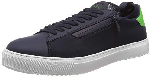 Armani Exchange Herren Low Top with Sock Attached Sneaker, Blau (Navy 00285), 44 EU