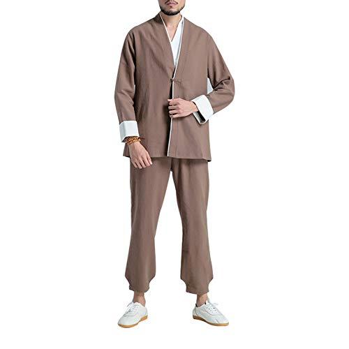 ZZUU Tai Chi Uniform - China Shaolin, Tai Chi Kung Fu Herren-Kampfsport-Trainings-Freizeitset, Leinen,Brown,XL