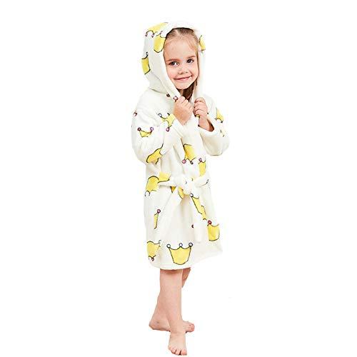 n Kapuzen-Bademantel Unisex Kleinkinder Morgenmantel Weichem Flanell Pyjamas Nachtwäsche Nachthemd Größe 130 Krone ()