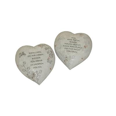 Greemotion Herz, ca. 16,3 x 15,5 x 9 cm aus Polyresin, Grau, 15,5x15x9,5cm von greemotion - Du und dein Garten