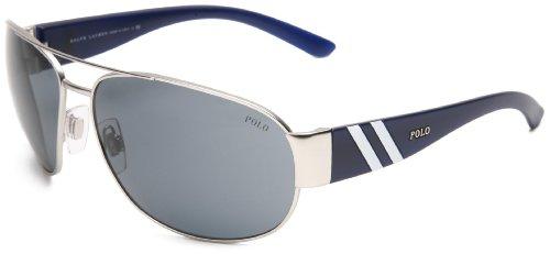 Polo Ralph Lauren Herren PH3052 Sonnenbrille, Silber (Matte Silver 904687), One size (Herstellergröße: 65)