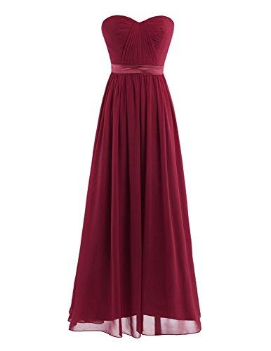IEFIEL Vestido de Boda Cóctel para Mujer Chica Vestido Plisado Largo para Dama de Honor Vestido de Noche Vino 38