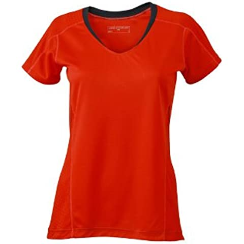 James & Nicholson Shirt Ladies Running T-Shirt - Camisa de maternidad Mujer, Rojo (Grenadine/Iron Grey), Small (Talla del fabricante: Small)