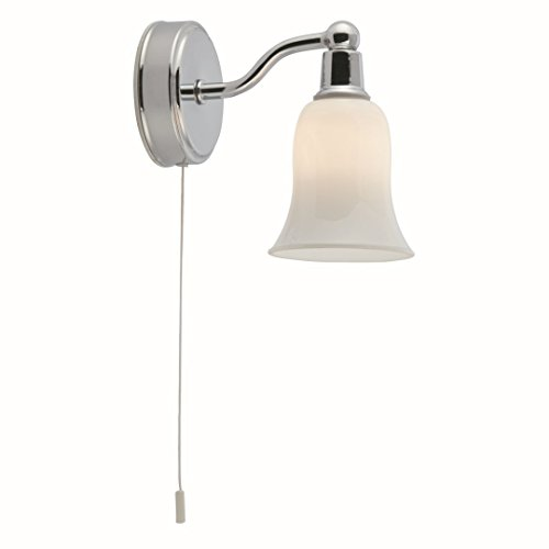 SEARCHLIGHT 2931-1CC - CHROME 1 LIGHT HALOGEN WALL BRACKET WITH WHITE GLASS SHADE AND PULL CORD SWITCH -