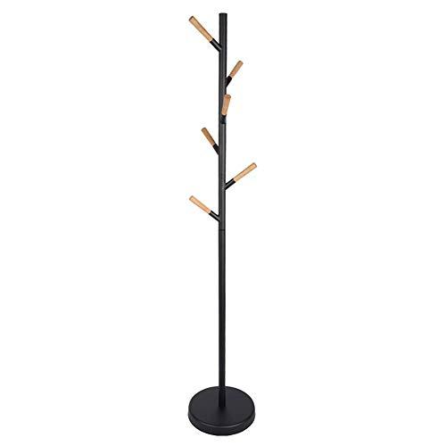 ZWH Kleiderablage Hutablage Regenschirmständer Fellbaum, Hall Tree Freistehend, Mit 6 Buchenholzhaken, Für Kleidung, Hut, Tasche (Color : Black)