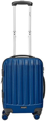 "Packenger Handgepäckkoffer Bordcase ""Velvet"" M in Blau / ABS / 52x35x23cm, 37 Liter, 3Kg / Zwillingsrollen (360°) / Koffer mit TSA Zahlenschloss / stabiler Alltags Bordgepäck Trolley-Koffer / Innentaschen"