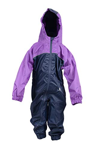 DRY KIDS Childrens 2 Colour Waterproof Rainsuit, All in One Dry Suit for Outdoor Play. Ideal Outerwear for Boys and Girls