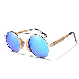 Dhrfyktu Occhiali da Sole polarizzati in Legno Vintage per Donna Uomo Occhiali da Sole con Montatura in Metallo Occhiali da Sole Classici Unisex Rotondi Occhiali da Sole con Protezione UV Occhiali da
