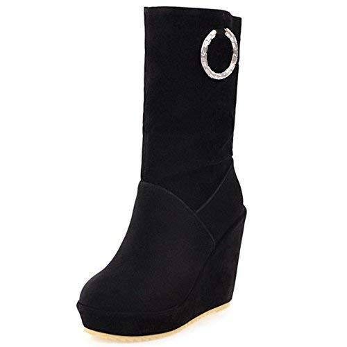 TAOFFEN Stivali Tacco Alto Zeppa Donna Modello Scarpe Pull On (39AS, Black)