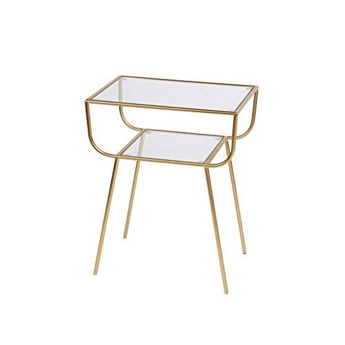 HXGL-Nachttisch Eisen Einfache Moderne Kreative Glas Couchtisch Wohnzimmer Sofa Seitliche Ecke Mehrere Metall Nachttisch Kleinen Beistelltisch (Color : Gold)