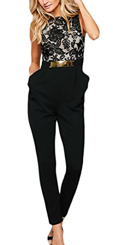 Tuta donna elegante da cerimonia festa lunghe tutine vintage pizzo cucitura fashionable completi smanicato rotondo collo slim backless cocktail banchetto jumpsuit tute (color : nero, size : m)